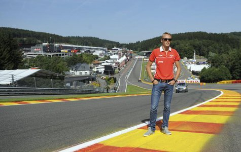 Marussia Formula One driver Max Chilton of Britain poses on the track ahead of the weekend's Belgian F1 Grand Prix in Spa-Francorchamps Augu