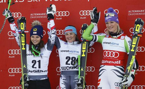 Anna Fenninger and Elisabeth Goergl of Austria and Germany's Riesch (LtoR) stand on the podium after the World Cup Women's Downhill race in