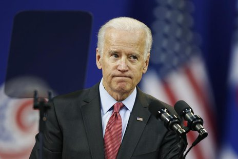 U.S. Vice President Joe Biden reacts as he delivers his speech at Yonsei University in Seoul December 6, 2013. REUTERS/Kim Hong-Ji