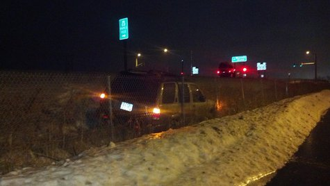 Vehicle in the ditch (Photo from: FOX 11)