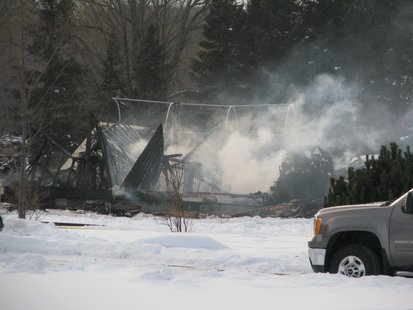 All that's left of a house that exploded northeast of Wausau 1/9/14