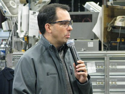 Gov. Scott Walker speaks at Greenheck Fan-Mosinee, WI