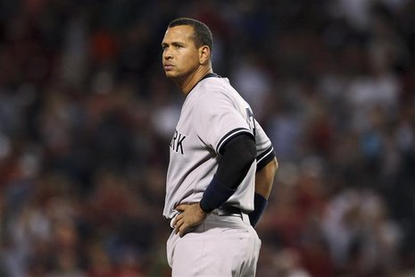New York Yankees' Alex Rodriguez stands at third base in the eighth inning of their MLB American League baseball game against the Boston Red