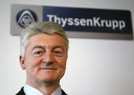 CEO of Germany's industrial conglomerate ThyssenKrupp AG Heinrich Hiesinger poses during the annual news conference at their headquarters in