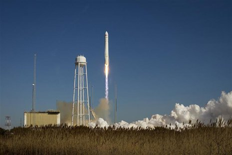 An Orbital Sciences Corporation Antares rocket is seen as it launches from Pad-0A at NASA's Wallops Flight Facility at Wallops Island, Virgi