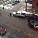 Duluth Police helping citizens through icy road conditions with salt.