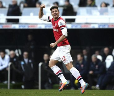 Arsenal's Olivier Giroud celebrates his goal against Newcastle United during their English Premier League soccer match at St James' Park in