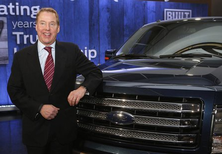 Ford Motor Co. Executive Chairman Bill Ford poses next to a Ford F150 pick-up truck during a gathering at the Ford Conference Center in Dear