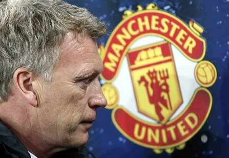 File photograph shows Manchester United's coach David Moyes pictured before the Champions League Group A soccer match against Bayer Leverkus