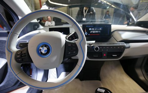 The steering wheel is pictured at the serial production BMW i3 electric car in the BMW factory in Leipzig September 18, 2013. REUTERS/Fabriz