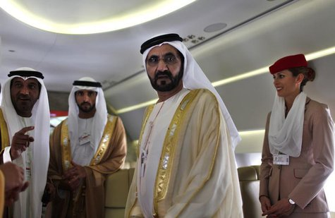 United Arab Emirates' Prime Minister and Ruler of Dubai Sheikh Mohammed bin Rashid al-Maktoum takes a tour inside an Airbus A380 aircraft du
