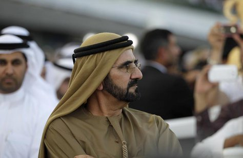 United Arab Emirates' Prime Minister and Ruler of Dubai Sheikh Mohammed bin Rashid al-Maktoum attends the Dubai World Cup at the Meydan Race