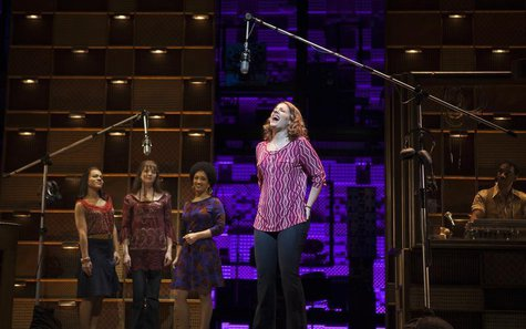 "Jessie Mueller sings onstage during the ""Beautiful - The Carole King Musical"" press preview at the Stephen Sondheim Theatre in New York, Nov"