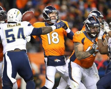 Jan 12, 2014; Denver, CO, USA; Denver Broncos quarterback Peyton Manning (18) throws while pressured by San Diego Chargers linebacker Melvin Ingram (54) during the 2013 AFC divisional playoff football game at Sports Authority Field at Mile High. Matthew Emmons-USA TODAY Sports
