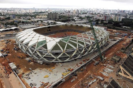 An aerial view of the Arena Amazonia stadium, under construction to host 2014 World Cup soccer matches, after work was suspended by a labor