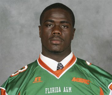 "Jonathan Ferrell poses in his Florida A&M University ""Rattlers"" football team jersey in an undated handout photo provided by the university."