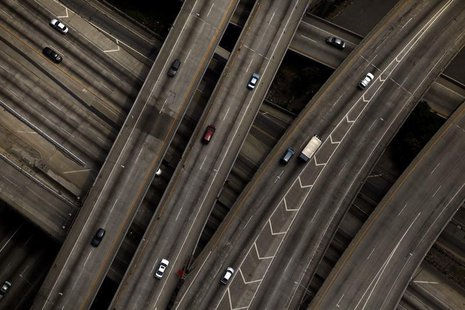 The 10/110 freeway interchange is seen in Los Angeles, California July 16, 2011. REUTERS/Eric Thayer
