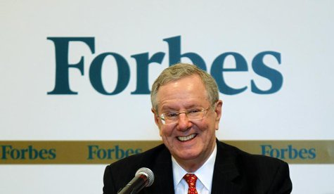 Forbes Media Chairman and Editor-in-Chief Steve Forbes smiles as he speaks during a news conference before the Forbes Global CEO Conference