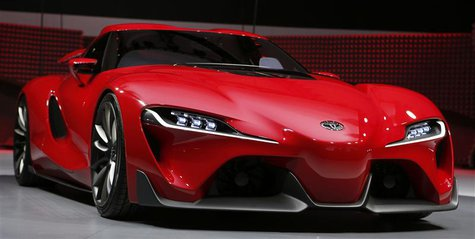 View of the Toyota FT-1 concept car's grille area as it is unveiled during the press preview day of the North American International Auto Sh