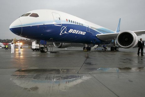 The Boeing 787 Dreamliner sits on the tarmac at Boeing Field in Seattle, Washington after its maiden flight, in this December 15, 2009 file