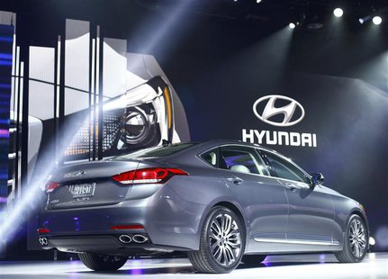 The new Hyundai Genesis is displayed during the press preview day of the North American International Auto Show in Detroit, Michigan January