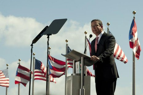 Alejandro Garcia Padilla makes his inaugural speech as the 10th Governor of the Commonwealth of Puerto Rico in San Juan, January 2, 2013. RE