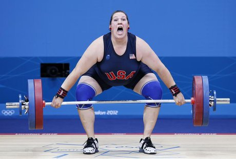 Sarah Robles of the U.S. competes in the women's +75kg group A weightlifting competition at the ExCel venue during the London 2012 Olympic G