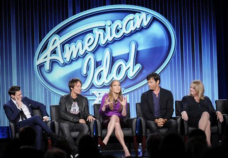 "Host Ryan Seacrest (L-R), Judges Keith Urban, Jennifer Lopez, Harry Connick, Jr., and executive producer Trish Kinane of ""American Idol"" tak"