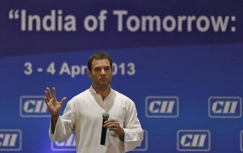 Rahul Gandhi, a lawmaker and son of India's ruling Congress party chief Sonia Gandhi, speaks during the 2013 annual general meeting and nati