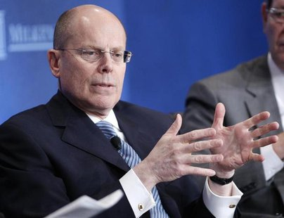 "UnitedHealth Chief Executive Officer Stephen Hemsley takes part in a panel discussion titled ""Getting From Care to Cure"" at the Milken Insti"