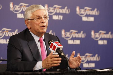 NBA Commissioner David Stern holds a news conference before Game 1 of the NBA Finals basketball playoff in Miami, Florida June 6, 2013. REUT