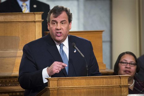 New Jersey Governor Chris Christie speaks during his annual State of the State address in Trenton, New Jersey January 14, 2014. REUTERS/Luca