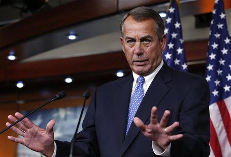 U.S. House Speaker John Boehner (R-OH) gestures as he speaks at a news conference on Capitol Hill in Washington January 16, 2014. REUTERS/Yu