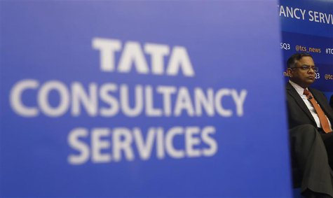 Tata Consultancy Services (TCS) Chief Executive N. Chandrasekaran listens to a question during a news conference in Mumbai January 16, 2014.
