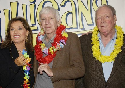 "Dawn Wells, Bob Denver and Russell Johnson (L-R), cast members in ""Gilligan's Island,"" pose during a launch party for ""Gilligan's Island: Th"