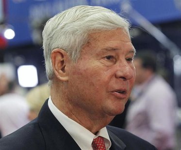 Former Florida Governor and U.S. Senator Bob Graham is interviewed before Republican presidential nominee Mitt Romney and U.S. President Bar
