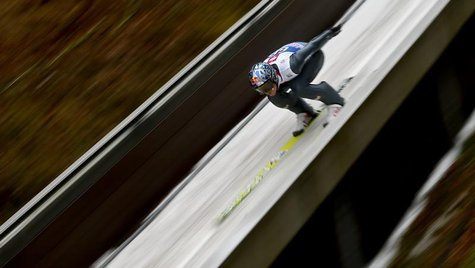 Austria's Thomas Morgenstern speeds down the ski jump during the first training jump for the fourth jumping of the four-hills tournament in