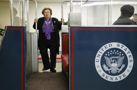 U.S. Senator Barbara Mikulski (D-MD) boards the subway to the senate office buildings at the U.S. Capitol in Washington, January 15, 2014. R