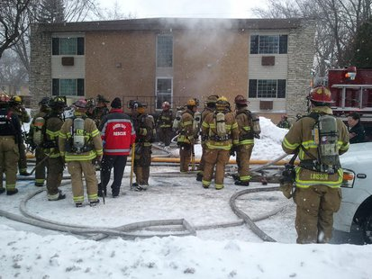 Fire crews battle flames at Nicolet Apartments on Huth Street in Green Bay on Jan. 16, 2014. (Photo from: WTAQ's Mark Daniels).