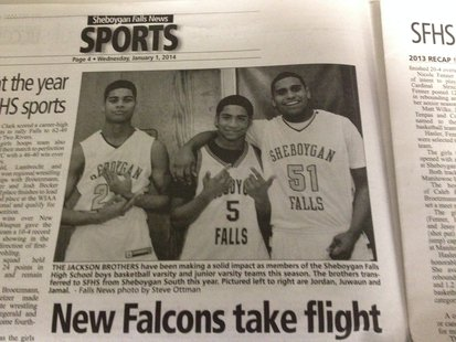 The picture of (left to right) Jordon, Jawaun, and Jamal Jackson as it appeared in the January 1, 2014 edition of the Sheboygan Falls News.