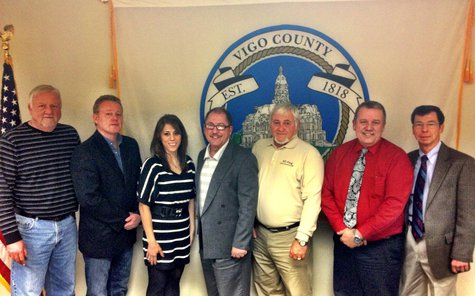 Vigo County Council from left to right:   Mark D. Bird, Tim Curley, Kathy Miller, Bill Thomas, Ed Ping, Rick Burger, Mike Morris.