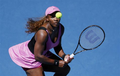 Serena Williams of the U.S. eyes the ball during her women's singles match against Daniela Hantuchova of Slovakia at the Australian Open 201