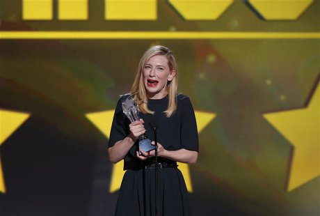 "Actress Cate Blanchett accepts the award for best actress for her role in ""Blue Jasmine"" at the 19th annual Critics' Choice Movie Awards in"