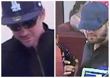Suspects in a series of armed bank robberies are seen in undated photos released by the FBI in Los Angeles January 17, 2013. REUTERS/FBI/Han