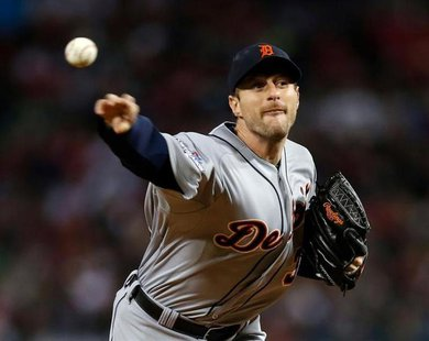 Detroit Tigers pitcher Max Scherzer (37) pitches during the third inning in game two of the American League Championship Series baseball gam