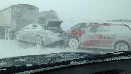 Multiple vehicle crash on I-90 near Humboldt. (SDHP.gov)
