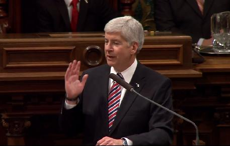 Governor Snyder says his wife helped him pick the tie.
