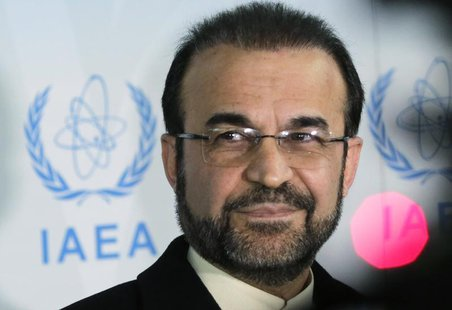 Iran's ambassador to the International Atomic Energy Agency (IAEA) Reza Najafi attends a news conference at the headquarters of the IAEA in