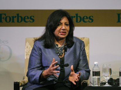 India's Biocon Ltd Chairman and Managing Director Kiran Mazumdar-Shaw speaks during the Forbes Global CEO Conference in Kuala Lumpur Septemb