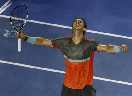 Rafael Nadal of Spain reacts after winning his men's singles match against Gael Monfils of France at the Australian Open 2014 tennis tournam